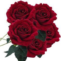 5 Pcs Artificial Silk Fake Flowers Rose Flower Wedding Bouquet