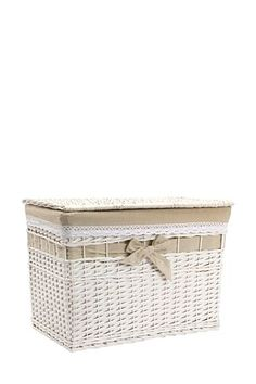 """This woven willow trunk has a fabric lining with croched edge, and fabric bow detail.<div class=""""pdpDescContent""""><BR /><b class=""""pdpDesc"""">Dimensions:</b><BR />L64xW40xH46 cm</div>"""
