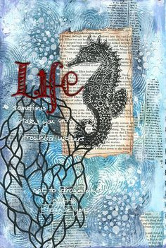 Life art journal page by Jill Wheeler featuring Scrap FX products:  Seahorse stamp, Whorl Fingerprint stamp, Seaweed stencil, Random dots stencil, and chipboard title Life('s simple pleasures). www.scrapfx.com.au