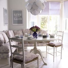 Lilac kitchen nook- Really pretty but too girly for a man to feel at home...