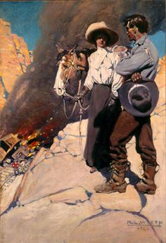 "Wyeth - ""And whom may I say the message is from? Jamie Wyeth, Andrew Wyeth, Vintage Illustration Art, American Illustration, Frederic Remington, Nc Wyeth, West Art, Cowboy Art, Le Far West"