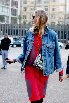 red dress, blue jean, bold pattern