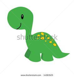 Vector illustration of a cute cartoon dinosaur