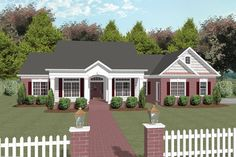 The welcoming entrance of this charming southern house plan is accented by a stone pediment, wide windows with shutters, stately gables, and a broad porch. 3 Bedroom, 3 Bath, 2184 Living Sq. Feet. House Plan # 101011