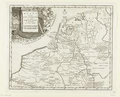 Anonymous | Historische kaart van Nederland met de gebieden van de Bataven en Friezen, Anonymous, Isaak Tirion, 1747 - 1759 | Kaart van de Nederlanden ten tijde van de Bataven. Linksboven een cartouche met de titel versierd met attributen van de visserij, jacht en landbouw.