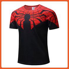 COOL Mens Super Hero series Spiderman Logo Quick-dry T-shirt 2XL - Superheroes shirts (*Partner-Link)
