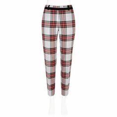 Grey tartan smart trousers - slim trousers - trousers - women. River island