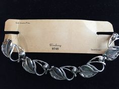 "Sarah Coventry Vintage Wind Song Leaf Bracelet Original Card Silvertone 7"" #SarahCoventry #Statement"