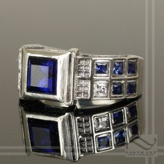 Level 3 TARDIS Ring Solid Sterling Silver -  With Lab Sapphires and CZ by mooredesign13 on Etsy https://www.etsy.com/listing/162944290/level-3-tardis-ring-solid-sterling