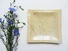 Ceramic dish with plant imprint serving dish by potteryhearts