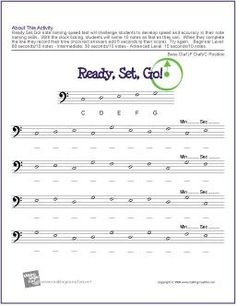 Learn Music Theory with our Free Ready, Set, Go! Note Name Speed Test Worksheet (Treble Clef/G Position). Music Students Build Speed and Accuracy as They Race the Clock to Complete this Treble Clef Note Name Worksheet. Music Lessons For Kids, Music Lesson Plans, Music For Kids, Piano Lessons, Music Flashcards, Music Theory Worksheets, Middle School Music, Bass Clef Notes, Reading Music