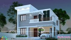 1145 sq-ft 3 bedroom modern house 3 bedroom 1445 square feet budget friendly Kerala home design by Dream Form from Kerala. 2 Storey House Design, Duplex House Plans, Bungalow House Design, House Front Design, Small House Design, Modern House Design, Modern House Facades, Flat Roof House, Indian House Plans
