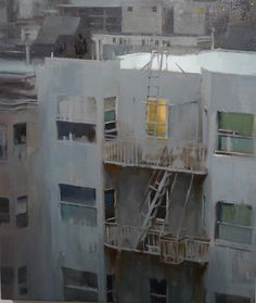 Artist Kim Cogan Captures The Quiet Side Of City Life With A Paintbrush. Building Painting, Building Art, Urban Painting, Painting & Drawing, Great Paintings, Landscape Paintings, Painting Inspiration, Art Inspo, City Art