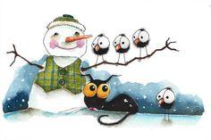 Original watercolor painting whimsical Stressie Cat snowman crow bird dressed up #IllustrationArt