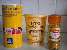 miel bicarbonate curcuma (attention au curcuma qui tâche la peau)
