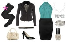 [pre-sorted] Charcoal gray, black, or navy blazer; turquoise blouse; skirt same color as blazer; black nylons, skinny black belt, silver jewelry, black shoes.