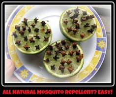 Slice a lime in half and press in plenty of cloves for an ALL NATURAL mosquito repellent...