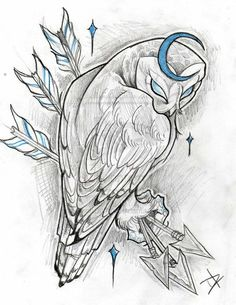 All About Art Tattoo Studio Rangiora. Owl Tattoo Drawings, Tattoo Sketches, Animal Drawings, Art Sketches, Art Drawings, Neue Tattoos, Body Art Tattoos, Owl Tattoo Design, Tattoo Designs