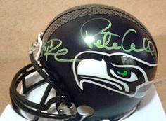 Russell Wilson & Pete Carroll Autographed Seattle Seahawks Mini Helmet