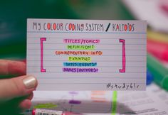 Revise-organise, kaltoids: I love colour coding. And to be...