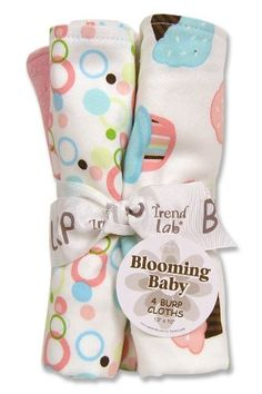 Trend Lab 4 Pack Burp, Cupcake Print