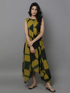 Green Cotton Clamp Dyed Dress