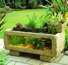 I really like this, could make it out of rock and mortar or decorative blocks, plexiglass and silicon sealer..hmmm