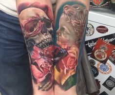 #tattoo #skull #roses #sleeve #angel #fullcolour  #amazig #folowme on instagram #franc.parra  skull with roses and angel