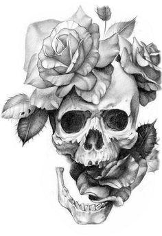 tattoo ideas /tattoo design / tattoo arm / tattoo for men / tattoo for women / tatoo geometric / tattoo skull Skull Rose Tattoos, Flower Tattoos, Body Art Tattoos, Sleeve Tattoos, Cool Tattoos, Tattoo Arm, Pretty Skull Tattoos, Skull Tattoo Flowers, Key Tattoos