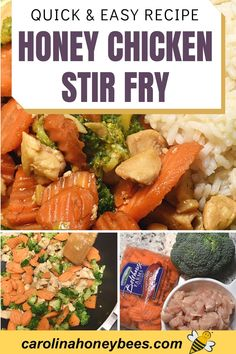 Quick and easy recipe using honey. Create this tasty honey chicken stir fry with broccoli and carrots or your favorite vegetables for a fast tasty meal - cooking with honey. #carolinahoneybees