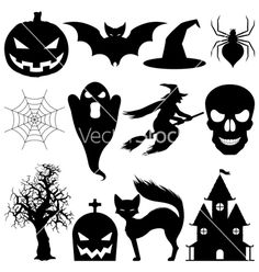 Illustration about Set of 12 vector halloween elements. Black silhouettes, isolated on white background. Illustration of graphics, background, house - 10860248 Halloween Infantil, Moldes Halloween, Fröhliches Halloween, Adornos Halloween, Manualidades Halloween, Halloween Drawings, Halloween Vector, Halloween Items, Halloween Signs