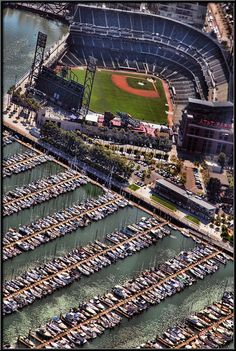 View of AT&T Park from San Francisco Seaplane #perfectweekendmillvalley photo by Ed Puskas http://www.seaplane.com/