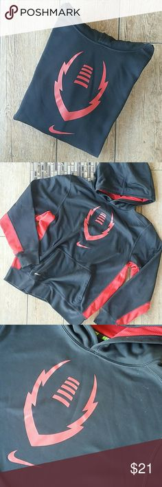 "NIKE THERMA-FIT HOODIE Black with red trim  Red football print and""swoosh"" on front Kangaroo pouch Solid back 20"" armpit to armpit 23"" shoulder to hem No rips, stains, pilling or peeling of prints Smoke free home Nike Shirts & Tops Sweatshirts & Hoodies"