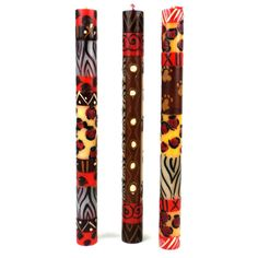 Set of Three Boxed Tall Hand-Painted Candles - Uzima