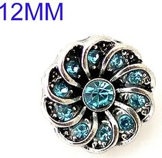 Blue Rhinestone Flower 12mm Mini Petite Snap Charm For Ginger Snaps Jewelry #Handmade #Interchangeable
