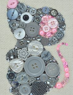 Button Art Grey Mouse Nursery Decor Button by PaintedWithButtons
