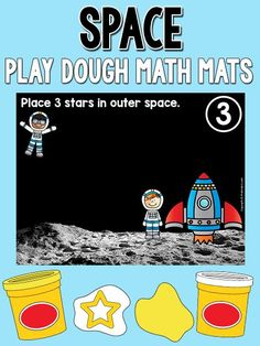 These are so cute for Exploring Creation with Astronomy: Space Play Dough Counting Mats (free; from PreKinders) Space Theme Preschool, Space Activities, Preschool Activities, Sistema Solar, Space Classroom, Outer Space Theme, Play Dough, Rockets, Solar System
