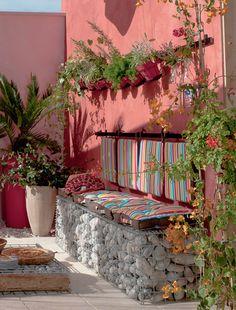 outdoor gabion seating