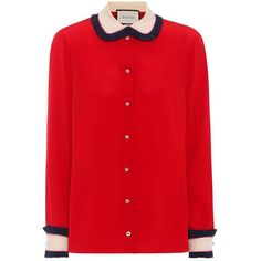 Gucci Silk Crêpe De Chine Blouse (25.221.830 VND) ❤ liked on Polyvore featuring tops, blouses, red, red silk blouse, red silk top, red blouse, gucci and gucci blouse