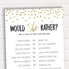 Would She Rather Bridal Shower Game, Bridal Shower Game, Bachelorette Party, Bachelorette Games, What Would the Bride Do Game, Bridal Games by ohhappyprintables on Etsy https://www.etsy.com/listing/585403347/would-she-rather-bridal-shower-game