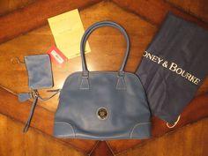 NWT Dooney & Bourke Light Blue DOMED SATCHEL Pebbled Leather & Accessories  #DooneyBourke #Satchel