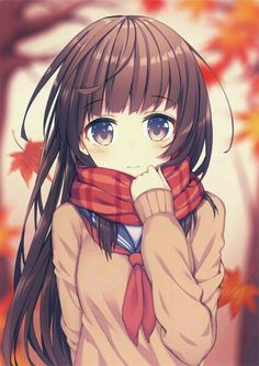 """( I'm the girl) I pulled up my scarf blushing a little from your sweet compliment. I moved my long hair out of my face and looked at you with a smile.""""Oh your to kind!"""" I say cheerfully. You blush a little.""""W-well its true! You're beautiful!"""" My face turns a very bright pink.""""T-thank you..."""" I say as I look away. You pull me close. I seemed shocked. You then grab the bottom of my chin lightly and bring my face close to yours. What will you do next?"""