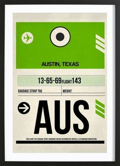 AUS-Austin I en Affiche premium encadrée par Naxart | JUNIQE