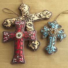 Embellished Velvet Ornaments - Crosses | Seasonal