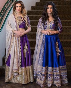 Gorgeous purple and blue lehengas from @LuxieCouture!