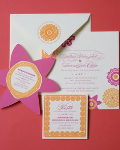 Bright colors reflect the sunny tropics of Mexico for this destination wedding invitation suite