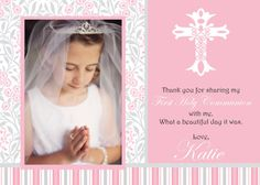 Communion Thank You Card 5x7 Cross Custom Digital Print Yourself Pink And Grey Painted Picture