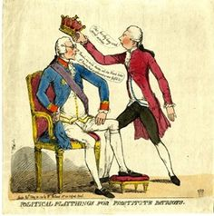 """Political playthings for prostitute patriots. DescriptionBurke, in court dress, and wearing a ribbon and star, sits, erect and complacent, in an ornate armchair, his left foot on a footstool. His head is turned in profile to the right towards Pitt, who advances towards him, and is about to place an earl's coronet on his head, saying, """"This for thy long and secret services"""". Burke answers """"Thanks, my noble Master"""" Burke's support of Pitt created a rift between him and the Earl Fitzwilliam…"""