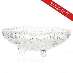 """450-450 - Marquis by Waterford Newberry 6.25"""" Crystal Wedge Cut Footed Bowl"""