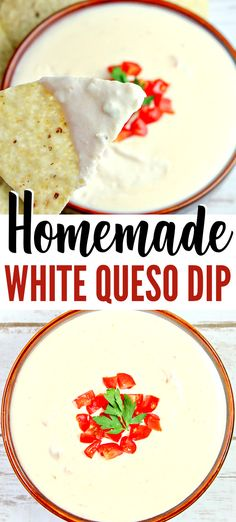 Dip Recipes 97604 So delicious! Easy Homemade White Queso Dip Recipe made with 3 cheeses — pepper jack cheese, white American cheese & cream cheese. Dip your tortilla chips in this spicy cheese dip or use to top nachos, baked potatoes, or french fries. Homemade White Queso Dip Recipe, Pepper Jack Queso Recipe, Queso Recipe With Cream Cheese, Mexican Queso Dip Recipe, Chips And Queso Recipe, Best Potato Chip Dip Recipe, Queso Cheese Sauce Recipe, Appetizer Recipes, Ideas